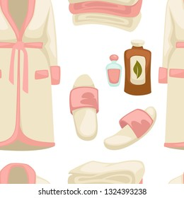 Massage oil spa procedure bathrobe and sleepers seamless pattern vector beauty salon clothes and aroma liquids endless texture cosmetic means outfit garments and footwear repeated in wallpaper