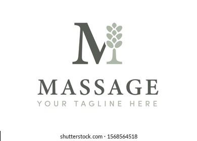 Massage - Premium, Modern & Elegant Uppercase Serif, Beauty Salon & Spa Care Graphic Brand Identity Vector Logo Template w/ Light & Dark Jade Green Colors & M Monogram w/ Lavender Eucalyptus Flat Icon