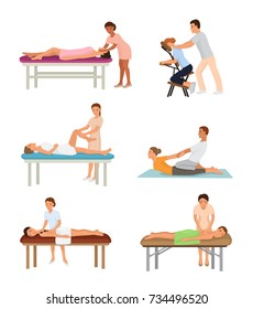 Massage procedure people beauty spa healthy lifestyle characters relaxation concept beautiful professional relax person vector illustration