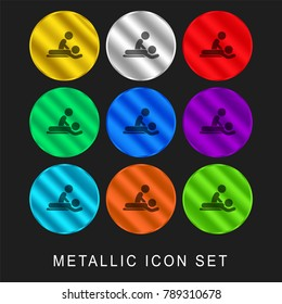 Massage session 9 color metallic chromium icon or logo set including gold and silver