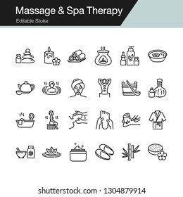 Massage and Spa Therapy icons. Modern line design. For presentation, graphic design, mobile application, web design, infographics, UI. Editable Stroke. Vector illustration.