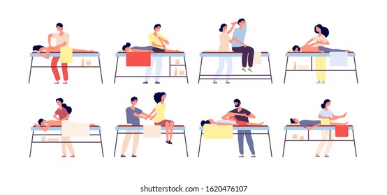 Massage therapy. Relaxing spa treatment, rehabilitation therapists and patients. Wellness relaxation men and women isolated vector set