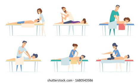 Massage therapy. Spa relax physiotherapy procedure remedial massage injury sport stretching doctor vector cartoon illustrations