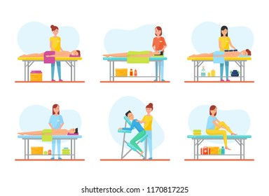 Massage treatment of clients on tables isolated vector. Facial back and abdominal techniques, using hot stones and special chair, self care of woman