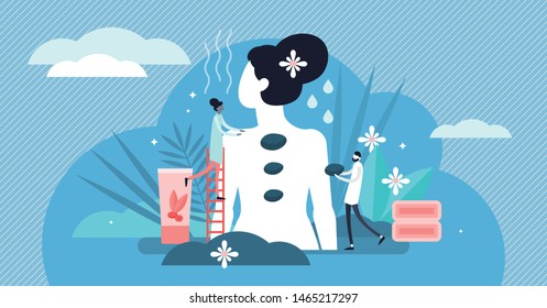 Massage vector illustration. Flat tiny relaxation therapy persons concept. Wellness and traditional medicine process to relieve tension in muscles and neck. Medical stone marbles and herbal harmony.