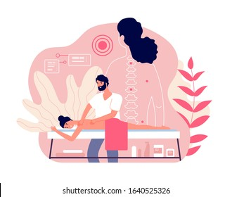 Massage. Woman enjoy relaxing spa. Professional body and muscle pain treatment with doctor. Wellness and healthcare vector concept