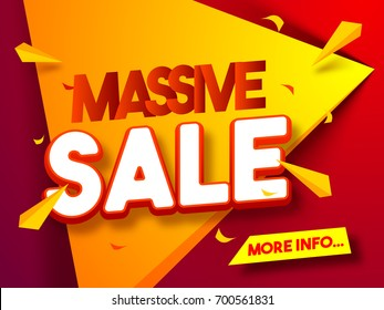 Massive Sale Poster, Banner or Flyer design. Creative red and yellow abstract geometric background.
