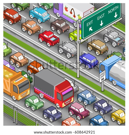 Massive traffic jam on highway (isometric illustration)
