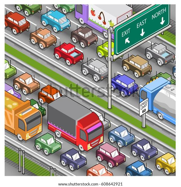 Massive traffic jam on highway (isometric illustration)