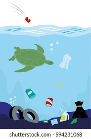 Massive trash thrown and affecting the ecological balance of the ocean. Editable Clip Art.