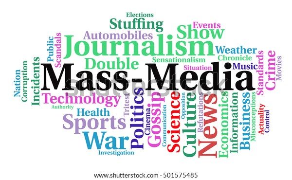 Massmedia Word Cloud News Concept Vector | Royalty-Free Stock Image