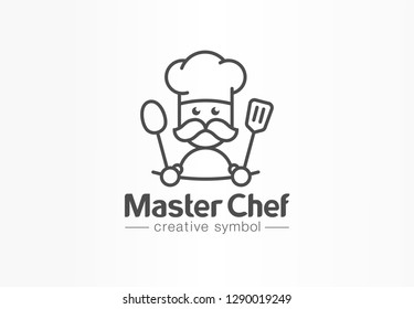 Master chef creative symbol concept. Cook mustache and hat, cafe menu, restaurant kitchen abstract business logo. Baker, spoon tasty food line icon. Corporate identity logotype, company graphic design