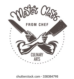 Master class from chef. Male hands are holding the knifes