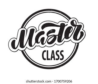 Master class hand drawn lettering . Vector Illustration. Online Education and Training. Distance Learning.