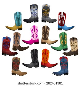 Master collection Cowboy Boots - detailed illustration - icon emblem vector set