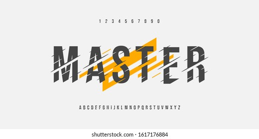 Master glitch fonts set. Modern alphabet uppercase font vector editable.