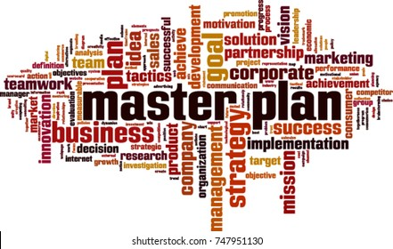 Master plan word cloud concept. Vector illustration