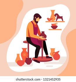 Master potter makes a clay vase. Vector illustration of the work of a pottery artisan. Pottery workshop poster. A happy potter making a ceramic pot on the pottery wheel in the workshop.