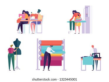 Master Sewing Clothes Character People Set. Woman Work Dressmaker Knitting Machine Ironing Fabric Creative Atelier Tailor Textile Craft Business Isolated Collection Flat Vector Cartoon Illustration
