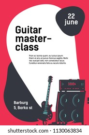 Masterclass event flyer concept. Music instruments vector frame. Electric guitar and amplifier flat vector illustration.