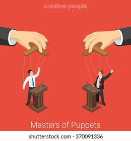 Masters of Puppets business politics election concept. Flat 3d isometry isometric conceptual web vector illustration. Two speakers on tribunes controlled by puppeteer. Creative people collection.
