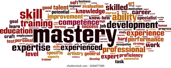 mastery word cloud concept. Vector illustration