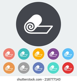 Mat for fitness. Single flat icon on the circle. Vector illustration.