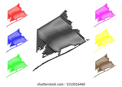 Matagorda County, Texas (Counties in Texas, United States of America,USA, U.S., US) map vector illustration, scribble sketch Matagorda map