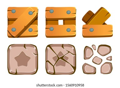 Match 3 Blocks - Mobile Game Assets. Stages of stone and wooden blocks destruction.