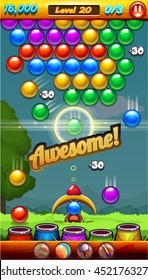 Match 3 Bubble Game Menu Screen