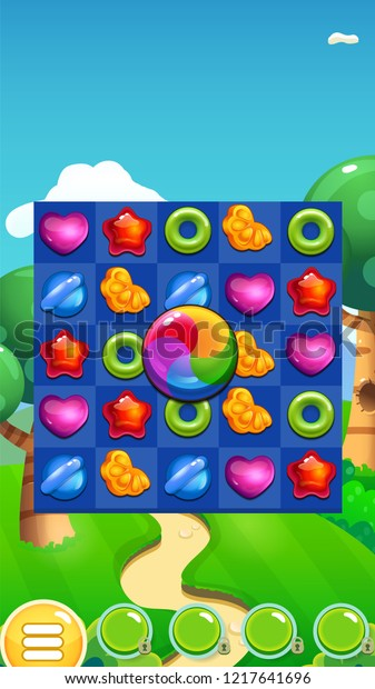 Match 3 Game Candies Game Reskin Stock Vector (Royalty Free