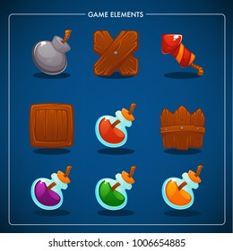 Match 3 Mobile Game, games objects, potion, bomb, dynamite, box, fence, petard