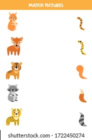 Match animals and their tails. Educational game for kids.