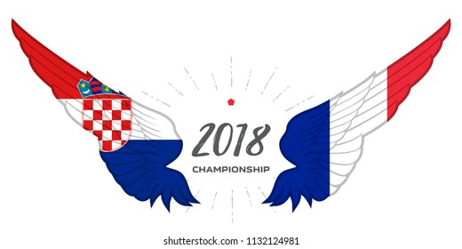 Match Croatia vs France. Football 2018. Abstract Wing with France and Croatia flag colors and symbols.