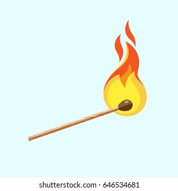 Match with fire. Burning match on blue background. Vector, illustration, flat