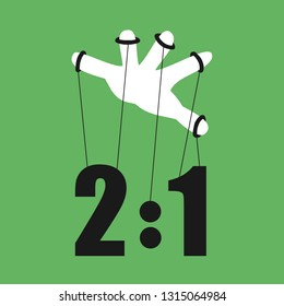 Match fixing - fraudulent, fake and false influence of sport score - illegal manipulation of game by puppet hand. Vector illustration