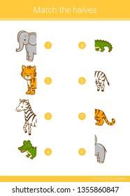 Match the halves of tiger, elephant, zebra, crocodile. Educational children game.