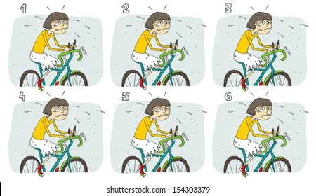 Match Pairs Visual Game: Bike. Task: find two identical images! Answer: 3 and 4. Illustration is in eps8 vector mode!