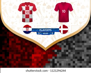 Match playoffs. Game between the teams of Croatia and Denmark. Vector illustration of t-shirt and national flag.