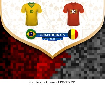 Match playoffs. Game between the teams of Brazil and Belgium. Vector illustration of t-shirt and national flag.