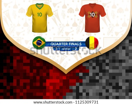 f789c2858 Game between the teams of Brazil and Belgium. Vector illustration of t-shirt  and national flag. - Vector