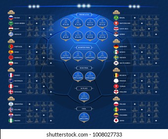 Match schedule, 2018 final draw results table, flags of countries participating to the international tournament in Russia, date, time & location, traditional russian background, match calendar, vector