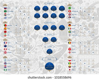 Match schedule, flags of countries participating to the international tournament in Russia, date, time and location, traditional russian background 2018 trends, vector illustration