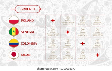 Match schedule group H, flags of countries participating to the international tournament in Russia, date, time & location, traditional russian background 2018 trend, match calendar, vector