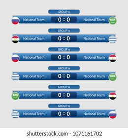 match schedule group A vector illustration. eps10.football tournament cup 2018 schedule. Nations flags info graphic.