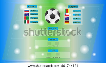 Match Schedule Template Confederations Cup 2017 International Soccer Tournament In Russia Vector Illustration