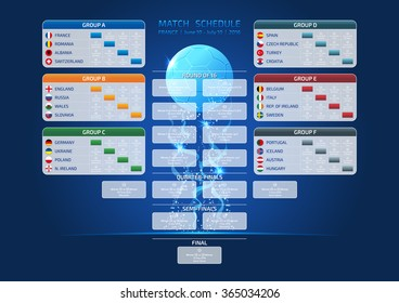 Match schedule, template for web, print, France 2016 football results table, vector illustration