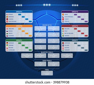 Match schedule, template for web, print, football results table, flags of european countries participating to the final tournament of Euro 2016 football championship, vector illustration