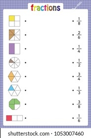 match shapes with correct fractions, math worksheet for kids