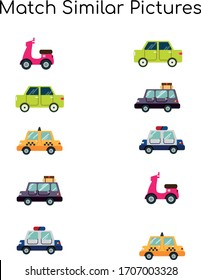 Match similar Picture. vector illustration. For pre school education, kindergarten and kids and children. Vehicle